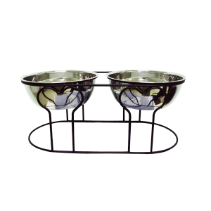YML DDB7 Wrought Iron Stand with Double Stainless Steel Feeder Bowls