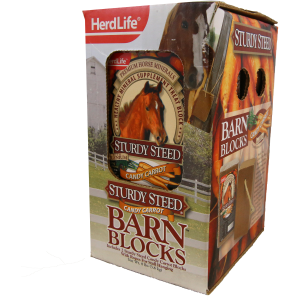 Herd Life Sturdy 4lb Steed Barn Block  Carrot  2pk