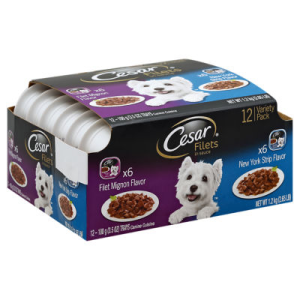 Cesar Canine Cuisine Filets in Sauce Filet Mignon New York Strip Flavor Tub - 12-3.5 Oz