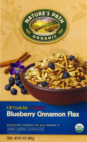 Nature's Path Organic Optimum Power Cereal  Blueberry Cinnamon Flax  14 Oz
