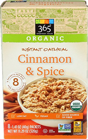365 Everyday Value  Organic Instant Oatmeal Cinnamon & Spice  1.41 oz  8 ct
