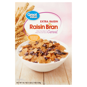 (3 Pack) Great Value Raisin Bran Cereal  Extra Raisin  18.7 Oz