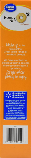 Great Value Honey Nut O's Cereal  12.25 oz