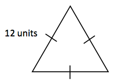 Triangle, with all sides labeled with 1 tick mark, & left side labeled, 12 units.