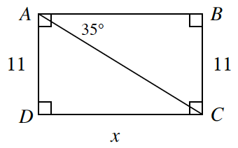 Rectangle A, B, C, D. Side A, D is, 11.  Side D, C is, x.  Side B, C is,11. A line is drawn from point A to point C forming two internal triangles.  Angle C, A, B is 35 degrees.