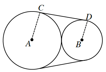 Larger circle on left labeled, a, with point on top labeled, c, & smaller circle on right labeled, b, with point on top labeled, d, circles are tangent to each other. Dashed segments from, a, to, c, & from, b, to, d, are parallel radii, & segments from, c, to, d, & 2 unlabeled points on bottom of each circle, each segment tangent to both circles