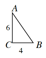 Triangle A, B, C, where side B, C, is, 4 and side A, C, is, 6.