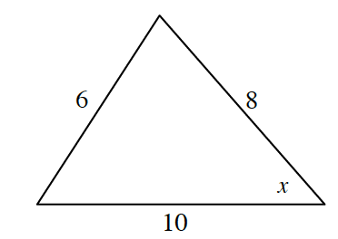 Acute triangle labeled as follows: left side, 6, right side, 8, bottom side, 10, bottom right angle, x.