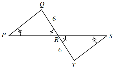 Segments P,S, & Q,T, intersect at R, with segments from P, to Q, & from S, to T, creating 2 triangles, with a common vertex, labeled as follows: Angle P, 2 tick marks, angle Q,R,P, 1 tick mark, side, Q,R, 6, side R,T, 6, angle T,R,S, 1 tick mark, angle S, 2 tick marks.