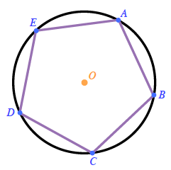 A circle, center labeled, O, with points, A, B, C, D, E, spaced evenly around the circle, and consecutive points connected to create a regular pentagon, inscribed in a circle.