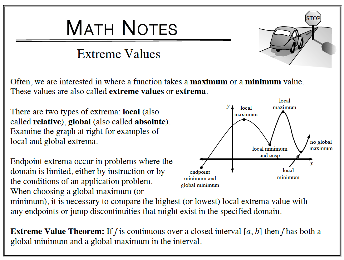 Math Notes for Extreme Values
