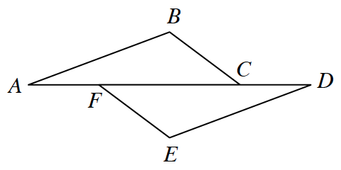 Two triangles: Triangle A, B, C, and its reflection across the base and translated to the right, forming triangle D, E, F.