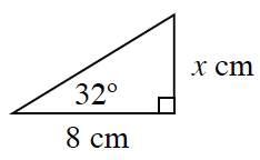 Right triangle, has a height of, x centimeters, & a base of 8 cm, with an angle of 32 degrees, across from the x side.