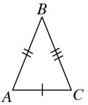 Triangle A, B, C. Side A ,C, is marked with a single tick mark. Side A, B, is marked with a double tick mark. Side B, C, is marked with a triple tick mark.
