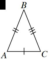 Triángulo A B C: El lado A C tiene una marca simple. El lado A B tiene una marca doble. El lado B C tiene una marca triple.