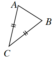 Triangle A B C. Sides A, C, and B, C, are marked with double tick marks.