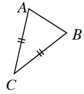 Triángulo A B C. Los lados A C y B C tienen marcas dobles.