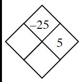 Problema de diamante: izquierda, en blanco; derecha, 5; arriba, menos 25; abajo, en blanco