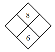 Diamond Problem. Left blank, Right blank, Top 8,  Bottom 6