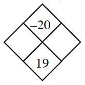 Diamond Problem. Left blank, Right blank, Top negative 20, Bottom 19