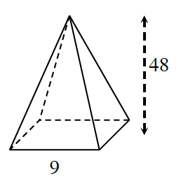 Square pyramid, Vertical heigh labeled, 48, front edge of base labeled, 9.