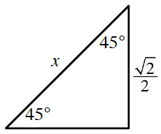 Right triangle labeled as follows: acute angles, each 45 degrees, vertical leg, square root of 2 divided by 2, hypotenuse, 1 half, angle opposite horizontal leg, 60 degrees.