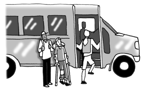 Students boarding a bus.