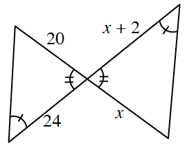 2 line segments intersect, with additional line segments to create 2 triangles, such that the 2 triangles share a common vertex, & the base of each is almost vertical. the triangles are labeled as follows: Left triangle: bottom angle, 1 tick mark, right angle, 2 tick marks, bottom side, 24, top side, 20. Right triangle: left angle, 2 tick marks, top angle, 1 tick mark, top side, x + 2, bottom side, x.