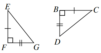 Two triangles E, F, G, and B, C, D. Leg E, F and Leg B, C are both marked with one tick mark. Leg F, G and leg B, D are both marked with two tick marks.