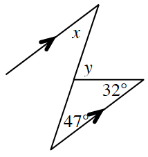 Two parallel lines are cut by a line segment (transversal) forming a, z, shape.  Another shorter segment from the bottom right side of the parallel line coming upward at an angle to the transversal encloses a triangle. The base angles of the triangle are 47 degrees at the left and 32 degrees at the right. Angle, y, is the supplement of the third interior angle. Angle, x, is the alternate interior angle of 47 degrees.