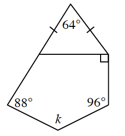 A pentagon with a line going through the interior from one side to an opposite vertex creating internally another pentagon and a triangle. For the triangle, the two external sides are equal with a 64 degree angle between them. The interior line creates a right angle with the adjacent right side. The next three angles clockwise are, 96, k, and 88 degrees. Thus all 5 angles of the external pentagon is labeled.