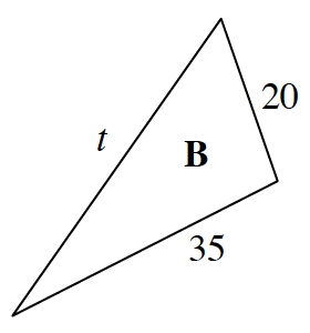 Triangle B with side lengths labeled as follows: shortest is 20, middle is 35 and longest is, T.