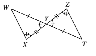 Line Segments W,T, & Z,X, intersect at point, Y, with line segments connecting W to X, & Z to T, creating 2 triangles: X,Y,W, & T,Y,Z, labeled as follows: side W,Y, & side T,Y, each have 1 tick mark, side Y,X, & side Y,Z, each have 2 tick marks, angle W,Y,X, & angle Y,Z,T, each have 1 tick mark.