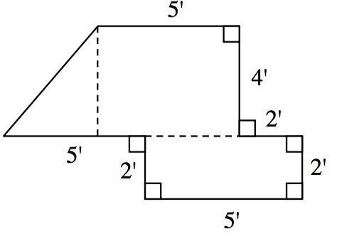 Added to figure, dashed line segments from top left vertex, perpendicular to side labeled 5', & a horizontal segment enclosing the bottom section into a 2 by 5 rectangle.