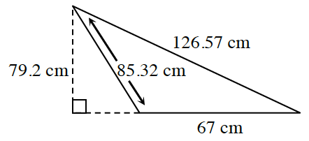 A triangle has sides labeled 126.57 cm, 67 cm and 85.32 cm.  An appended right triangle, with dashed legs, and the 85.32 cm side as the hypotenuse, is drawn, creating one large right triangle. The vertical leg is labeled, 79.2 centimeters.