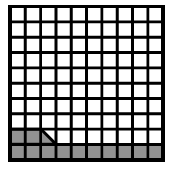 A 10 by 10 block of 100 where the first row, and 2 and a half squares of the second row are shaded.