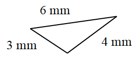 A triangle with the following sides in millimeters: 3 , 6, and 4.