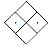 Diamond Problem. Left x,  Right x,  Top blank, Bottom blank