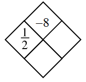 Diamond Problem. Left 1 divided by 2, Right blank, Top negative 8, Bottom blank