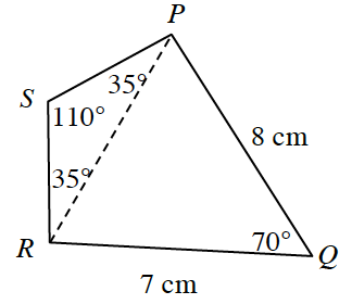 Quadrilateral P, Q, R, S where side P, Q is 8 centimeters, side R, Q, is 7 centimeters, Angle Q is 70 degrees. Triangle R, S, P has the following angles, angle S, R, P and angle S, P, R is 35 degrees. Angle S is 110 degrees.