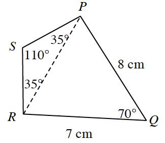 Cuadrilátero, P Q R S, con segmento punteado desde P hasta R, con rótulos como sigue: lado P Q, 8 centímetros; lado R Q, 7 centímetros; ángulo Q, 70 grados; ángulo S R P y ángulo S P R, 35 grados cada uno; ángulo S, 110 grados.
