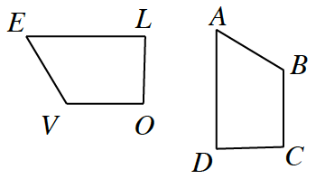 Two trapezoids: E, L, O, V and A, B, C, D. E, V and A, B have slanted lines. E, L and A, D are the longest for each. E, L and V, O are parallel bases. A, D and B, C are parallel bases. Right angles are at L and O. Right angles are at D and C.
