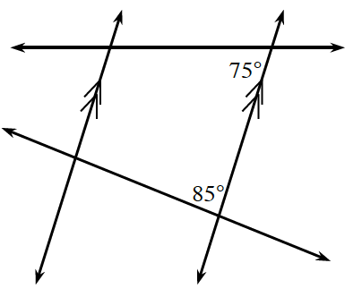 Two vertical parallel lines cut by two transversal lines. The given angle about the point of intersection of the top transversal and the right parallel line is the interior left angle, 75 degrees. The given angle about the point of intersection of the bottom transversal and the right parallel line is the interior left angle, 85 degrees.