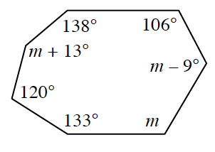 A polygon with the following angles: 138 degrees, 106 degrees, m minus 9 degrees, m, 133 degrees, 120 degrees and m + 13 degrees.