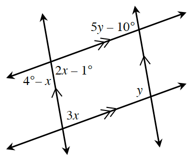 Two intersecting sets of parallel lines.  The upper left intersection has an exterior bottom angle, 4 degrees minus x, and an interior bottom angle, 2 x minus 1 degree. The upper, right intersection has an interior, top, angle, 5y minus 10 degrees. The lower left intersection has an interior top angle, 3x,  and the lower right intersection has an interior top angle, y.