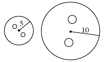 Two circles. The circle on the left has a radius of 5 with a smaller circle left & up, & another circle, right & down, from the center. The larger circle on the right has a radius of 10, with a smaller circle above, & another circle, below, the center.
