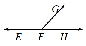 3 rays have the same starting point, labeled F. The left ray is horizontal containing the point E, the middle ray slants up and to the right, containing the point G. The right ray is horizontal, containing the point H.