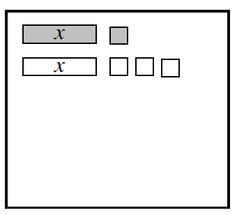 Expression Mat with tiles as follows: Row 1: 1 positive x and 1 positive unit. Row 2: 1 negative x, and 3 negative units.