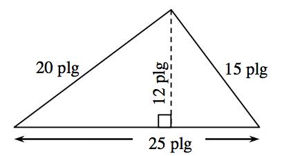 Triángulo con una base de 25 pulgadas, lado izquierdo de 20 pulgadas, y lado derecho de 15 pulgadas. Hay dos triángulos interiores creados por un segmento de recta de 12 pulgadas trazado desde el vértice superior hasta la base en ángulo recto.