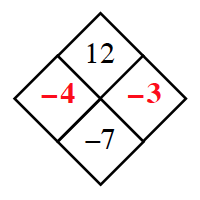 Diamond Problem. Left negative 4, Right negative 3, Top 12,  Bottom negative 7